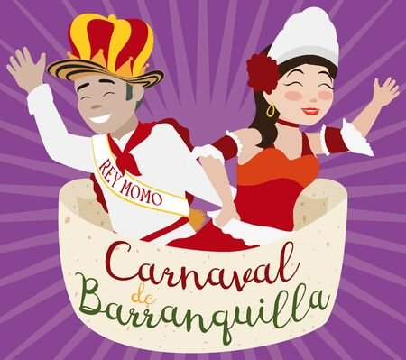 Poster with King Momo and Barranquilla's Carnival (written in Spanish) Queen saluting the people and proclaiming the fun and festive events of this Colombian celebration.