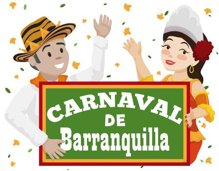 Poster with smiling Momo King and beautiful Barranquilla's Carnival (written in Spanish) Queen smiling celebrating in Battle of Flowers in Colombia.