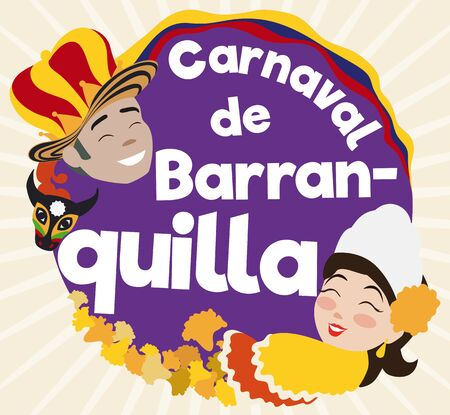 Flat design with round button and smiling Momo King, Colombian flag and decorated bull head and beautiful Queen with flower petals celebrating Barranquilla's Carnival (written in Spanish).  イラスト・ベクター素材
