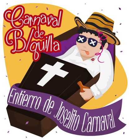 Poster with traditional representation scene of Joselito's death, that marks the ending of Barranquilla's (abbreviated 'B / quilla' and written in Spanish) Carnival fun and party events.