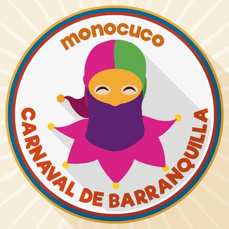 Commemorative round button for the Barranquilla's Carnival (written in Spanish) with monocuco design and Colombian colors in flat style.
