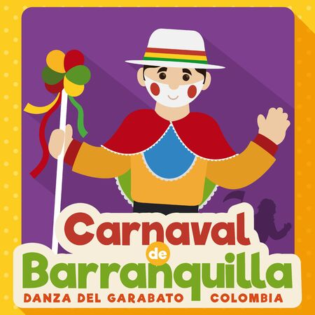 Poster in flat style with cute Garabato character holding a decorated stick with ribbons and saluting at you in Barranquilla's Carnival celebration (written in Spanish).
