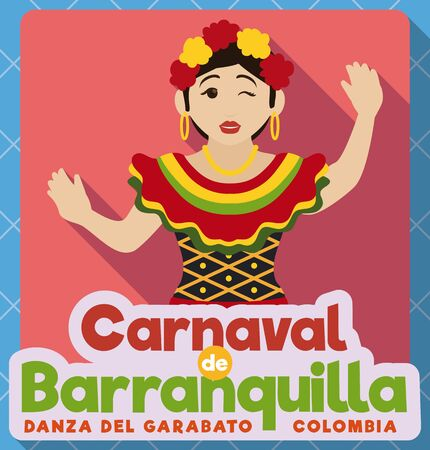 Poster in flat style with beautiful female Garabato dancer wearing a traditional dress and winking at you in Barranquilla's Carnival celebration (written in Spanish). 向量圖像