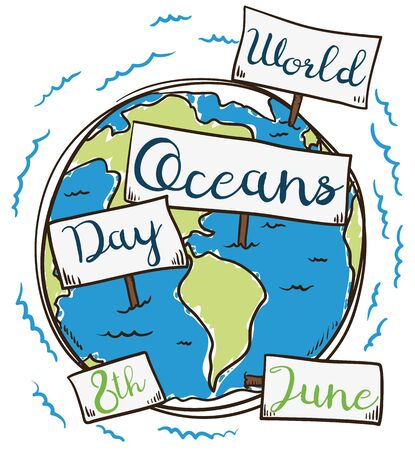 Commemorative poster for World Ocean Day in hand drawn style with Earth planet and signs for the five oceans: Pacific, Atlantic, Indian, Southern (Antarctic) and Arctic.
