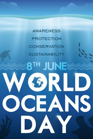 Poster with beautiful underwater fauna commemorating World Oceans Day in June 8.