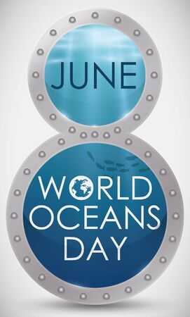 Poster with giant number eight with a realistic marine view inside to commemorate World Oceans Day in June 8.