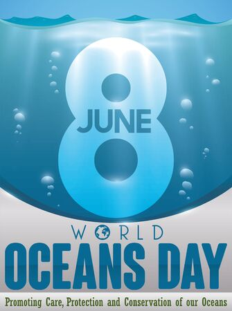 Poster with underwater view and translucent number eight to celebrate World Oceans Day with some precepts for this environment holiday.