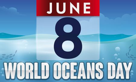 Banner with translucent loose-leaf calendar over a realistic seascape view for World Oceans Day celebration.