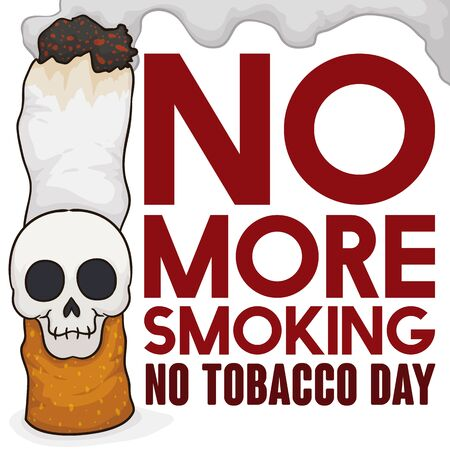 Poster with cigarette and smiling skull attached to it with smoke cloud and awareness sign inviting you to abandon this addiction and commemorate No Tobacco Day.
