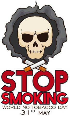 Poster with evil skull carrying a smoking cigarette and a button with awareness message promoting to stop this bad habit in the No Tobacco Day celebration.