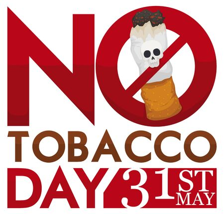 Cigarette with a skull forbidden by a sign promoting No Tobacco Day commemoration in 31st May. Vectores