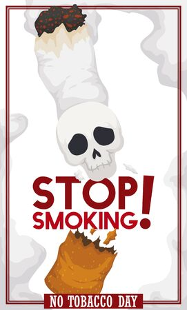 Poster with skull over broken cigarette: awareness symbol to stop smoking and mortal issues in the No Tobacco Day event.