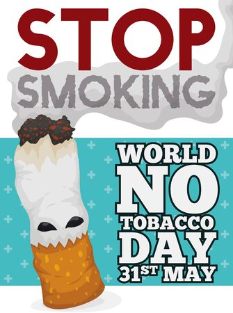 Poster with smoking cigarette like monster: a fearsome symbol promoting to stop smoking in the World No Tobacco Day event in May 31.