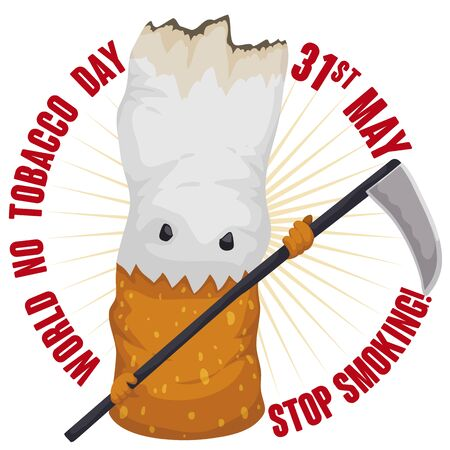 Evil cigarette with a scythe like death: a symbol for tobacco medical issues and awareness campaign during World No Tobacco Day in May 31.