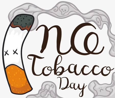 Commemorative design for World No Tobacco Day with evil cigarette like monster inside forbidden symbol and reminder date for this holiday.