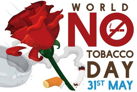 Poster with red rose smashing a cigarette: symbolizing the fight against the tobacco and smoking addictions in World No Tobacco Day.