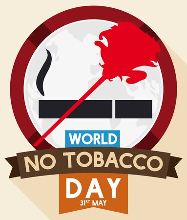 Round button with red rose forming a ban signal over a cigarette pictogram for World No Tobacco Day in flat style.