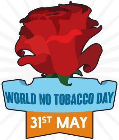Poster with giant red rose over ashtray and ribbon with reminder date for World No Tobacco Day celebration in May 31.