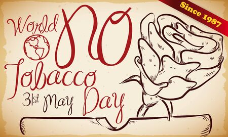 Retro hand drawn banner with ashtray and a rose design to commemorate World No Tobacco Day in May 31, since 1987. Illusztráció