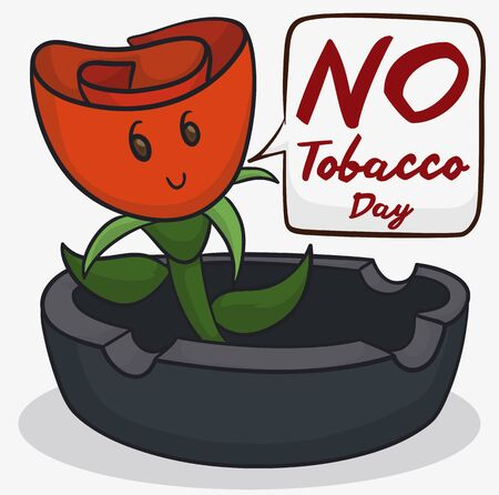 Poster with dark ashtray and cute smiling red rose inviting at you to participate in the No Tobacco Day event.