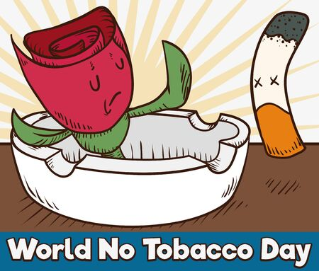 Cartoon poster with an ashtray and a rose saying no to a cigarette symbolizing the abstinence campaign in World No Tobacco Day. Illusztráció