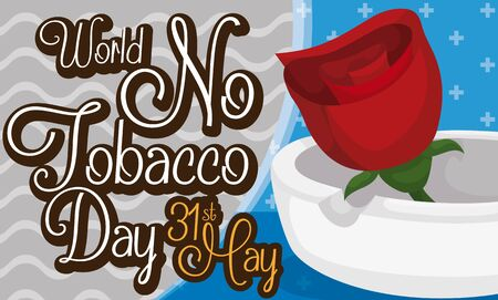 Banner with red rose inside an ashtray and greeting message for World No Tobacco Day celebration, for a event without smoke and healthy habits.