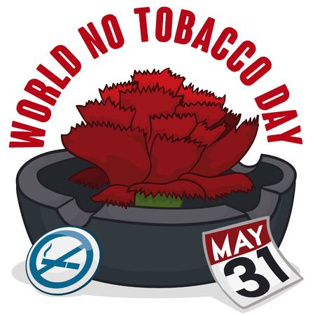 Poster with red carnation over an ashtray, pin with forbidden smoke symbol and a loose-leaf calendar to celebrate World No Tobacco Day.