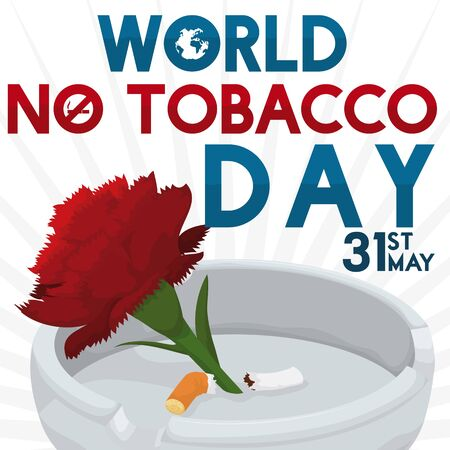Poster with a red carnation and a broken cigarette inside an ashtray for World No Tobacco Day celebration symbolizing the fight against this unhealthy addiction. Illusztráció