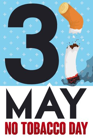 Poster with reminder date for World No Tobacco Day and a creative design of number 31 with broken cigarette.