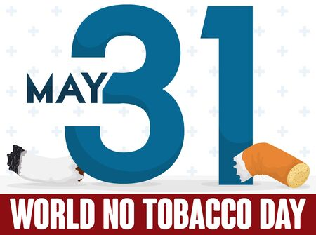 Poster with number 31 slicing a cigarette to commemorate World No Tobacco Day.