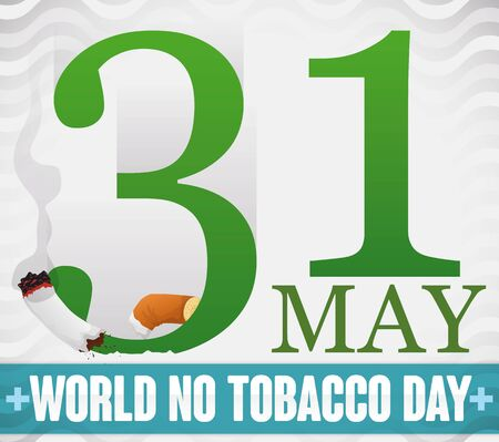 Poster with giant number thirty one cutting a cigarette reminding at you the important date for World No Tobacco Day in May. Illusztráció