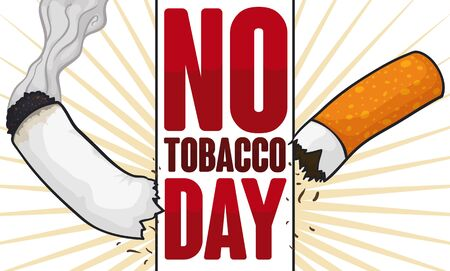 Sign breaking a smoking cigarette: a symbol for improve good health habits during No Tobacco Day celebration.