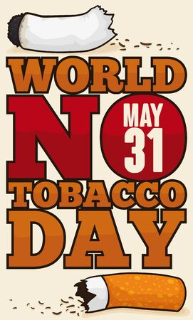 Poster for World No Tobacco Day with broken cigarette: symbol of the fight against this mortal addiction in May 31. Illusztráció
