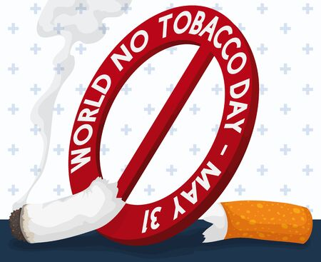 Poster with smoking cigarette sliced by a forbidden signal with reminder date for World No Tobacco Day celebration in May 31.