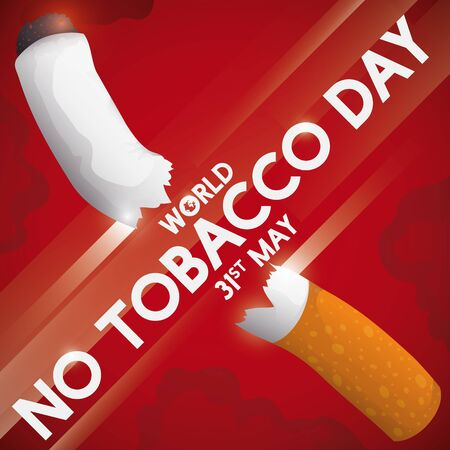 Sign slicing a cigarette in the middle, promoting the fight against tobacco consumption and the celebration of the World No Tobacco Day in May 31. Illusztráció