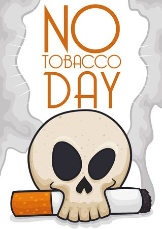 Skull holding a lighted cigarette symbolizing the awareness for mortal smoking diseases in No Tobacco Day celebration.
