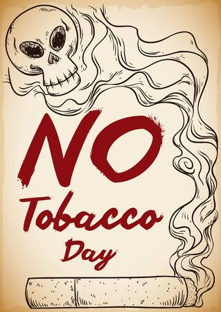 Poster in hand drawn style with a cigarette and smoke forming a skull shape for No Tobacco Day.
