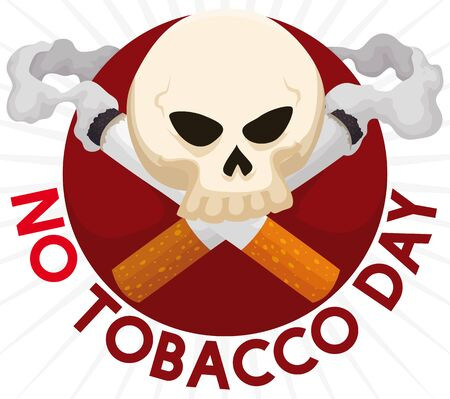 Skull with crossed smoking cigarettes like deadly symbol for human health for the commemoration of No Tobacco Day. Illusztráció