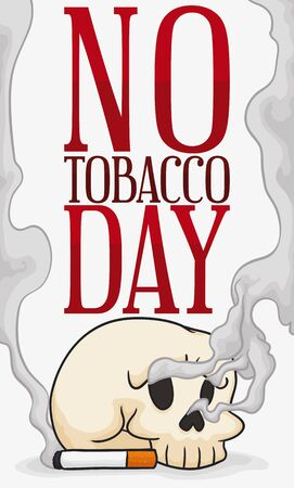 Skull with cigarette and smoke around it promoting No Tobacco Day commemoration.