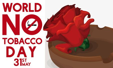 Commemorative poster with red rose inside and ashtray for World No Tobacco Day celebration in May 31.