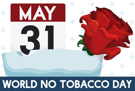 Poster with loose-leaf calendar with reminder date, red rose and ashtray to celebrate World No Tobacco Day in May 31. Illusztráció