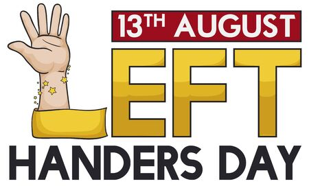 Commemorative banner with left hand with ribbon like letter 'L' forming a greeting message to celebrate Left Handers Day in August 13.