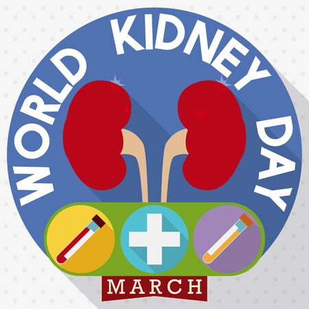 Round buttons in flat style with some special cares about good renal health in World Kidney Day celebration: urine sample and blood test.