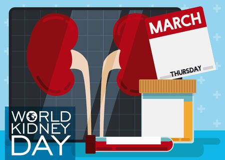 Poster in flat style with medical blood and urine tests, representing the health care about renal issues in World Kidney Day, holiday celebrated in March.