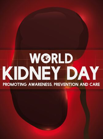 Poster with a healthy kidney silhouette to promote awareness, prevention and health care in World Kidney Day celebration.