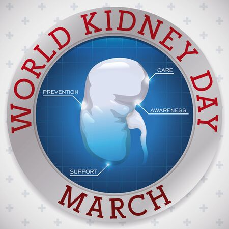 Round button over a cross pattern background with a healthy kidney with key precepts in the celebration of World Kidney Day in March.