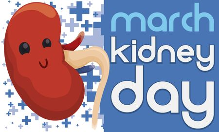 Banner with cute kidney over a cross pattern in the background and greeting sign for Kidney Day celebration in March.