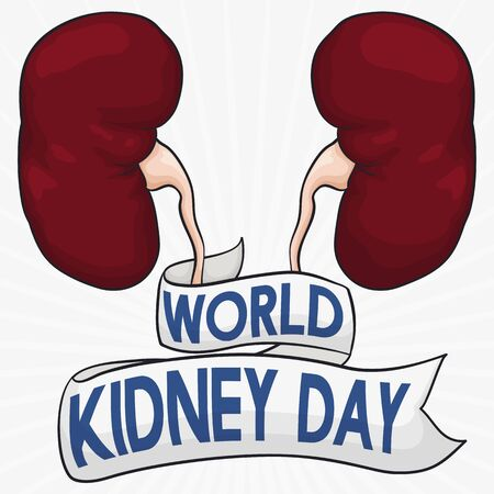 Commemorative poster for World Kidney Day with healthy kidneys and a greeting ribbon around them.