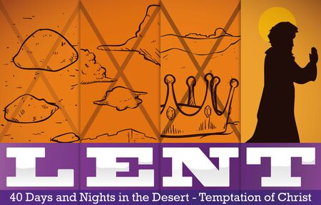 Representation of the three temptations of Christ in his journey across the desert that he beats successfully: hedonism (convert stones into bread), egoism (might) and materialism (kingdoms). Illustration