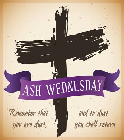 Poster with traditional ash cross drawing and purple ribbon with biblical words in a scroll that mark the beginning of Lent.